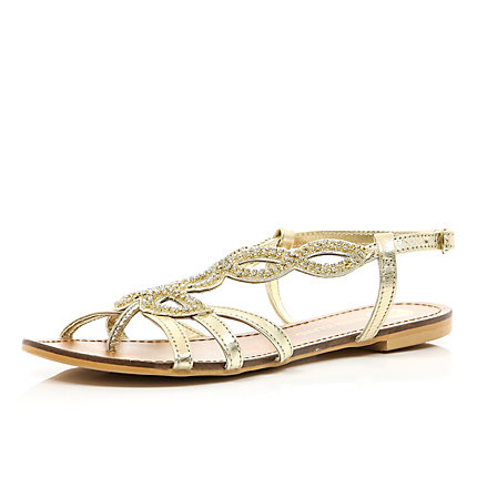 Gold diamante pattern embellished sandals