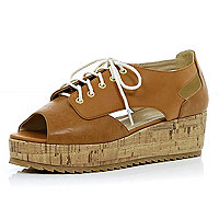 Brown lace up cut out cork flatforms