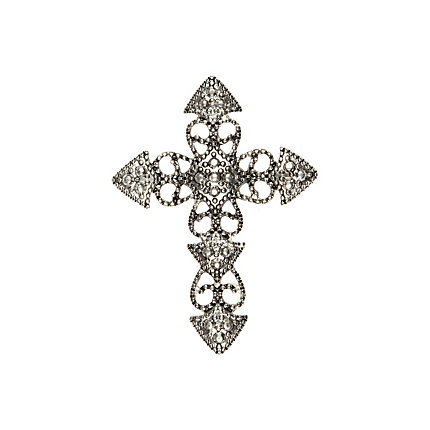 Silver tone filigree cross brooch