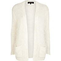 White eyelash oversized cardigan