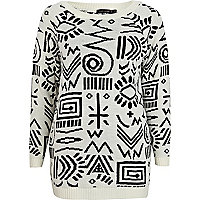 Cream tribal jacquard jumper