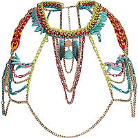 Turquoise multicoloured body chain