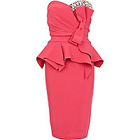 Pink Forever Unique gem bow peplum dress