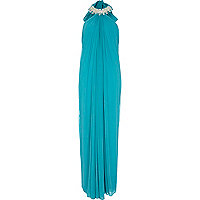 Turquoise Forever Unique halter maxi dress
