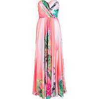 Coral Forever Unique tropical maxi dress