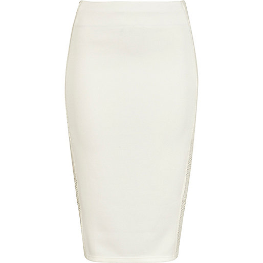 Cream mesh side panel pencil skirt