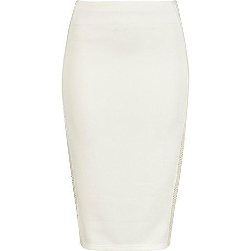 Cream mesh side panel pencil skirt