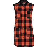 Orange check longline sleeveless shirt