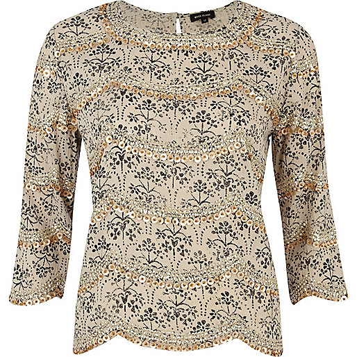 Grey ditsy print sequin embellished top