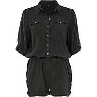Dark grey military casual playsuit