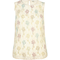 Cream embroidered flower shell top