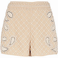 Beige embellished pattern smart shorts