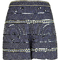 Blue tribal embellished smart shorts
