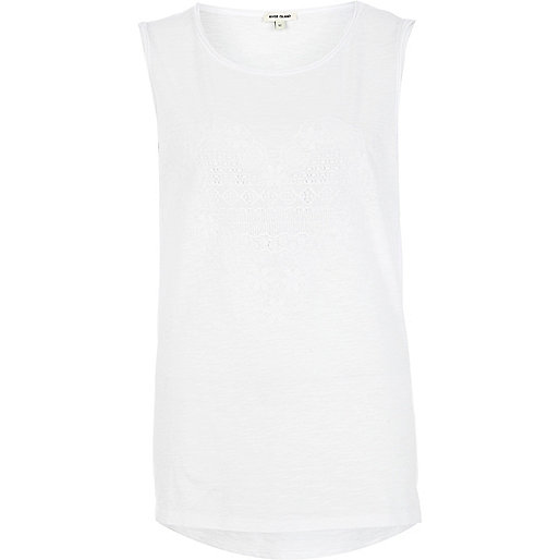 White lace heart print tank top
