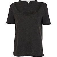 Black marl cut out shoulder t-shirt