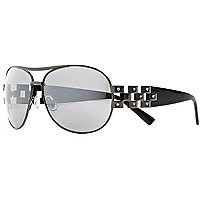 Grey mirrored diamante aviator sunglasses