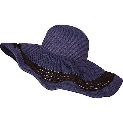 Navy contrast stripe floppy hat