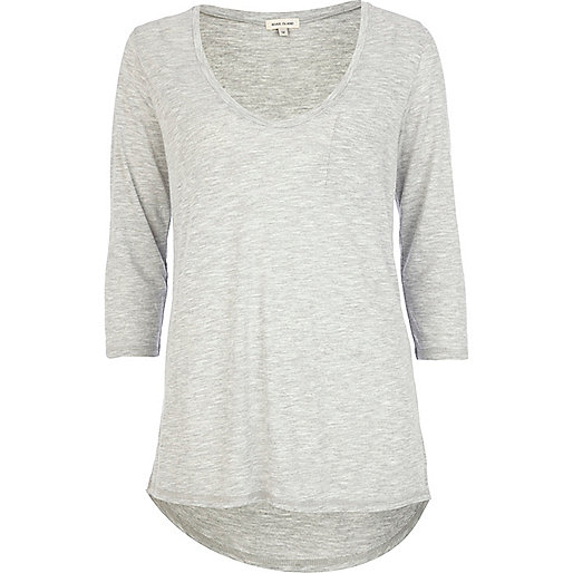Grey 3/4 sleeve low scoop neck t-shirt