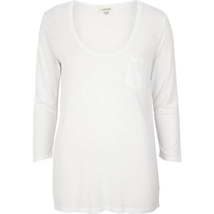 White 3/4 sleeve low scoop neck t-shirt