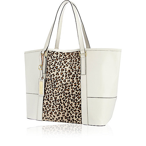 White leather leopard print panel tote bag