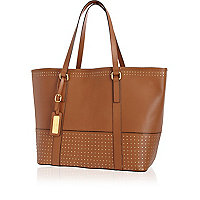 Beige leather studded panel tote bag