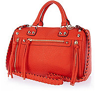 Red studded woven strap tumbled bowler bag