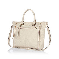 Cream tumbled whip stitch tote bag
