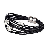 Black diamante ball magnetic bracelet