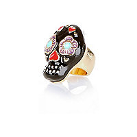 Black floral heart skull ring