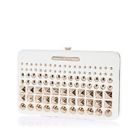 White gradated stud structured purse