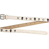 Cream skull and cross jean belt