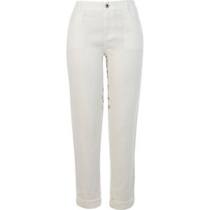 White printed back linen pants