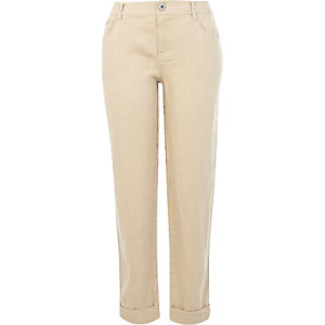 Beige linen back print trousers