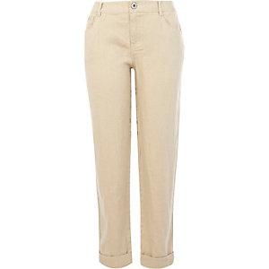 Beige linen back print trousers