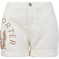 White linen side print shorts