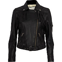 Black leather fringed biker jacket