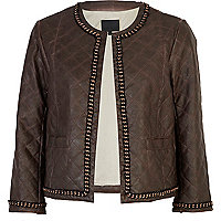 Brown leather look quilted chain jacket