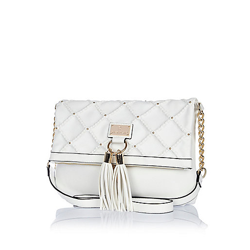 White quilted tassel messenger bag