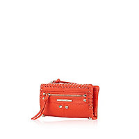 Red tumbled folded studded purse