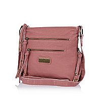 Pink zipped mini messenger bag