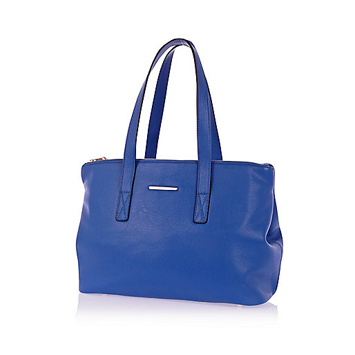 Blue double gusset tote bag