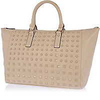 Light brown studded holdall bag