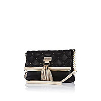 Black quilted tassel messenger bag