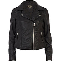 Black fringed leather look biker jacket