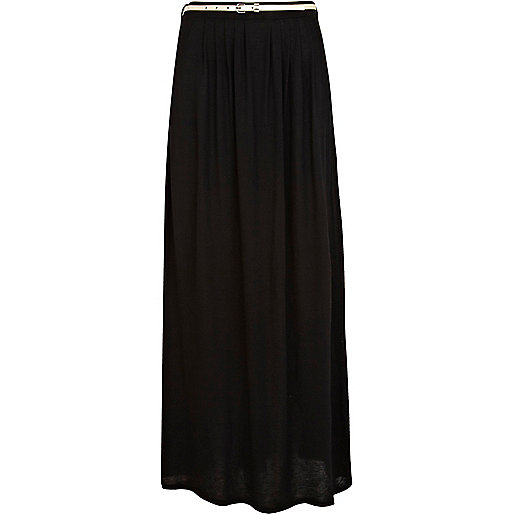 Black jersey belted maxi skirt