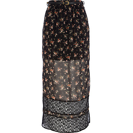 Black floral print lace stripe maxi skirt