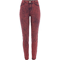 Red acid wash Molly jeggings