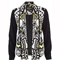 Black marble tribal print colour block jacket