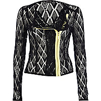 Black geometric lace fluro zip biker jacket