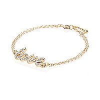 Gold tone diamante love bracelet